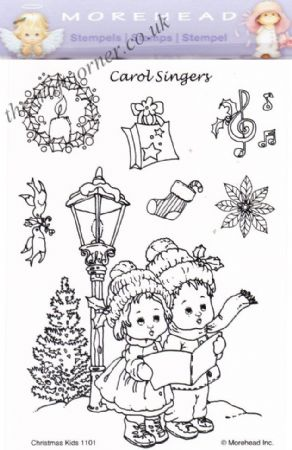 Christmas Carol Singing Children 8 Clear Rubber Stamp Set From Morehead